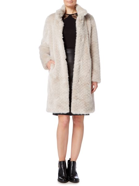 Linea Faux Fur Funnel Neck Coat