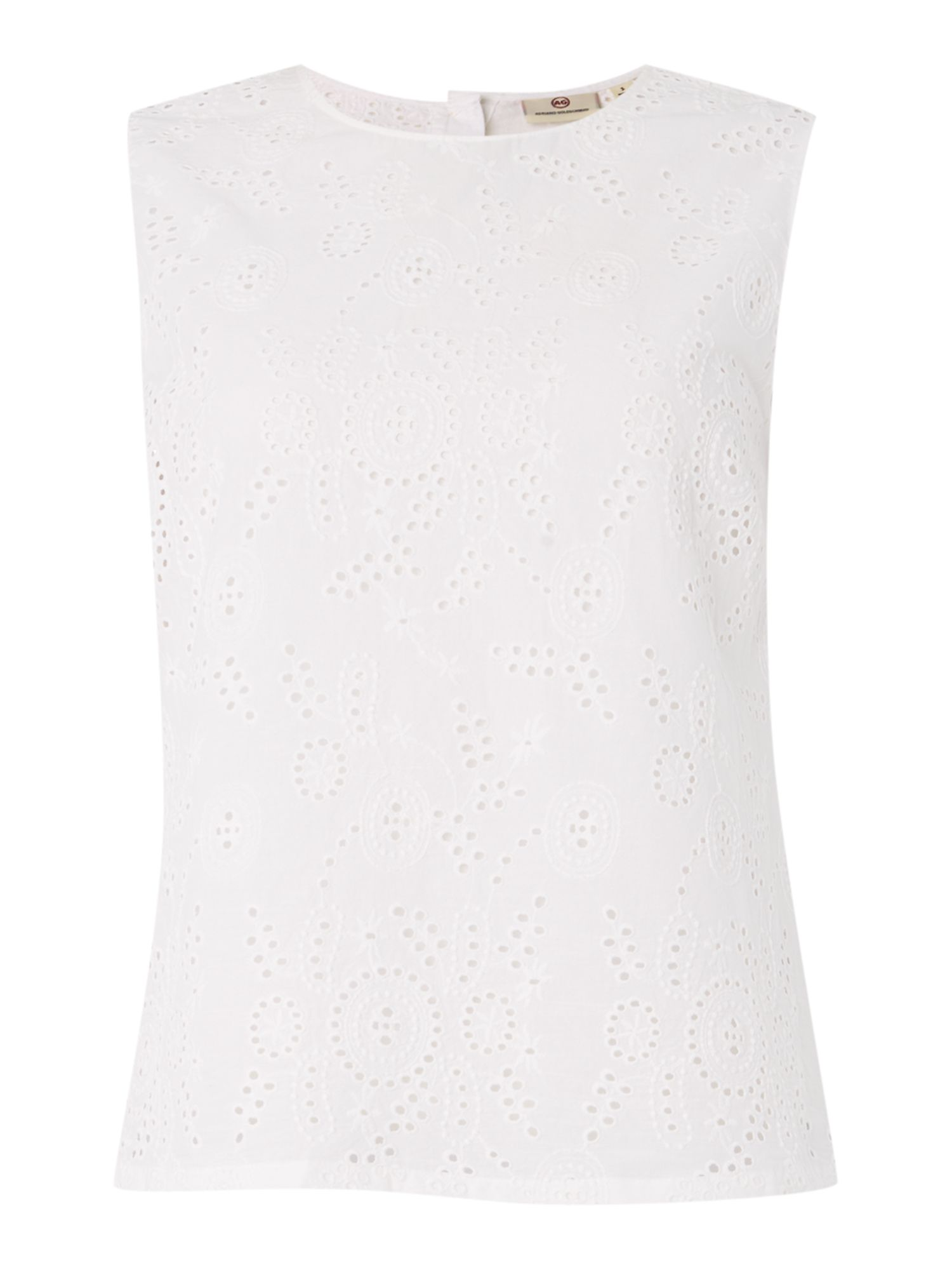 AG Jeans The teagan shell broderie top, White