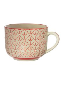 Linea Red Print Soup Mug