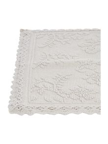 Shabby Chic Crochet frill grey bathmat