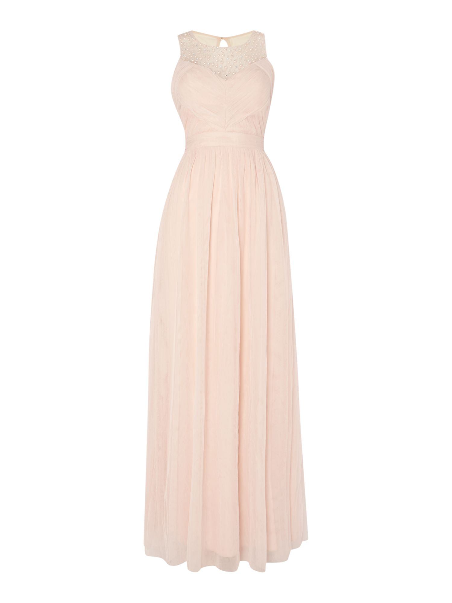 Little Mistress Embellished Sleeveless Pleat Detail Maxi Dress, Nude