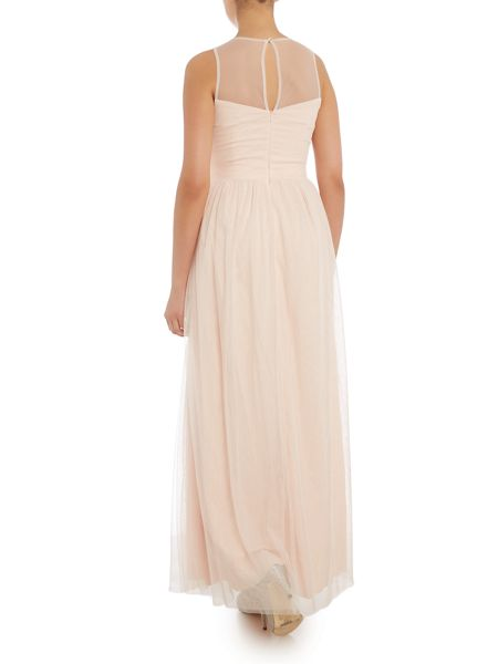 Little Mistress Embellished Sleeveless Pleat Detail Maxi Dress