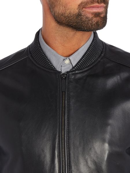 Kenneth Cole Dallas Leather Bomber Jacket
