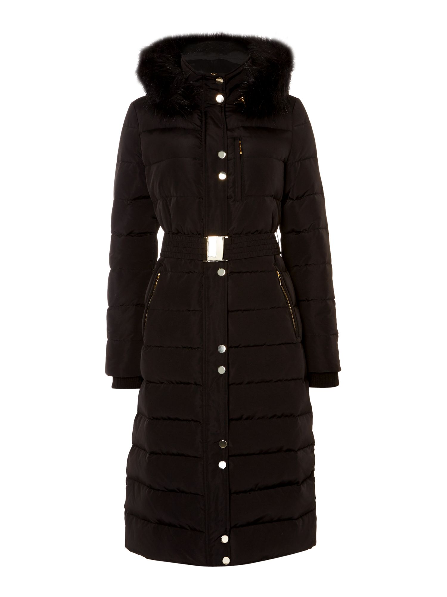 Linea Longline Down And Feather Padded Coat, Black