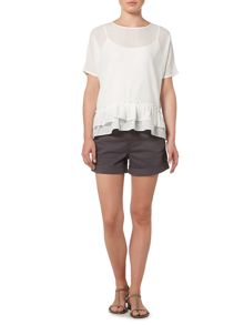 Gray & Willow Freyja frill hem woven top