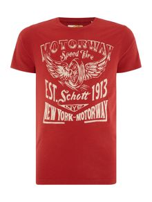 Schott NYC Regular fit motorway printed logo t shirt