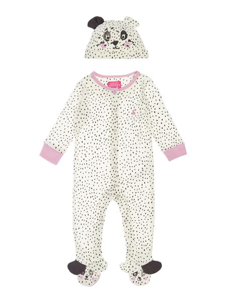 Joules Girls Dalmatian printed All in one with hat