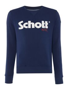 Schott NYC Crew neck large logo sweatshirt