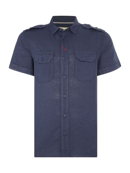 Schott NYC Regular fit 2 pocket linen mix shirt