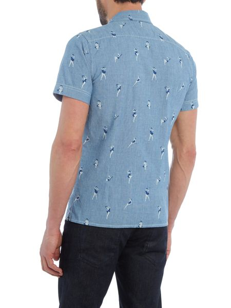 Schott NYC Regular fit pin up print short sleeve shirt