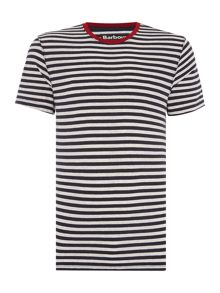 Barbour Striped tee with contrast colour colar