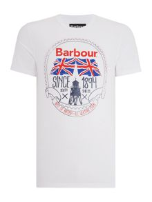 Barbour Short Sleeve Graphic Tee with Uniopn Jack Print