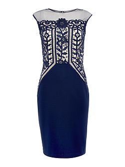 Sleeveless Crochet Lace and Sheer Bodycon Dress