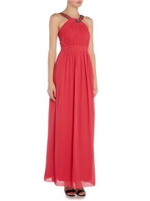Little Mistress Sleeveless Embellished Chiffon Maxi Dress
