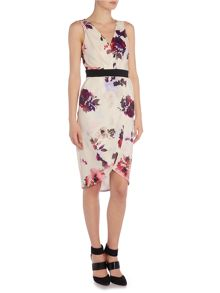 Little Mistress Sleeveless V Neck Petal Print Plunge Midi Dress