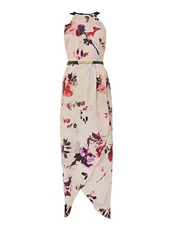 Sleeveless Petal Print Halter Neck Maxi Dress