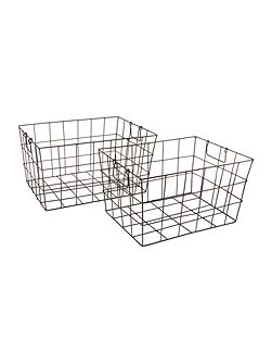 Wire tapered set of 2 baskets