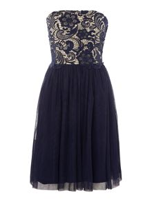 Little Mistress Strapless Lace Overlay Bandeau Dress