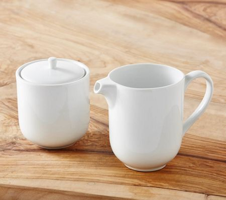 Linea Luna porcelain sugar bowl and creamer