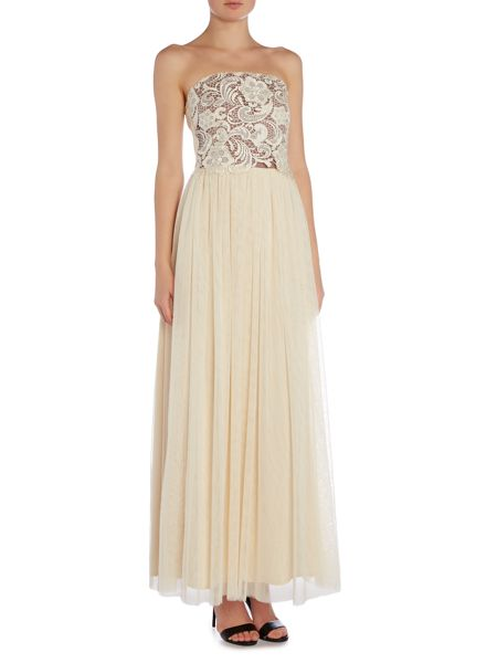 Little Mistress Strapless Lace Overlay Bandeau Maxi Dress