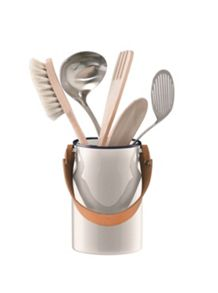 LSA Utility Utensil Pot & Leather Handle Milk White