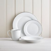 Linea Hampton platinum rim 16pc porcelain dinner set