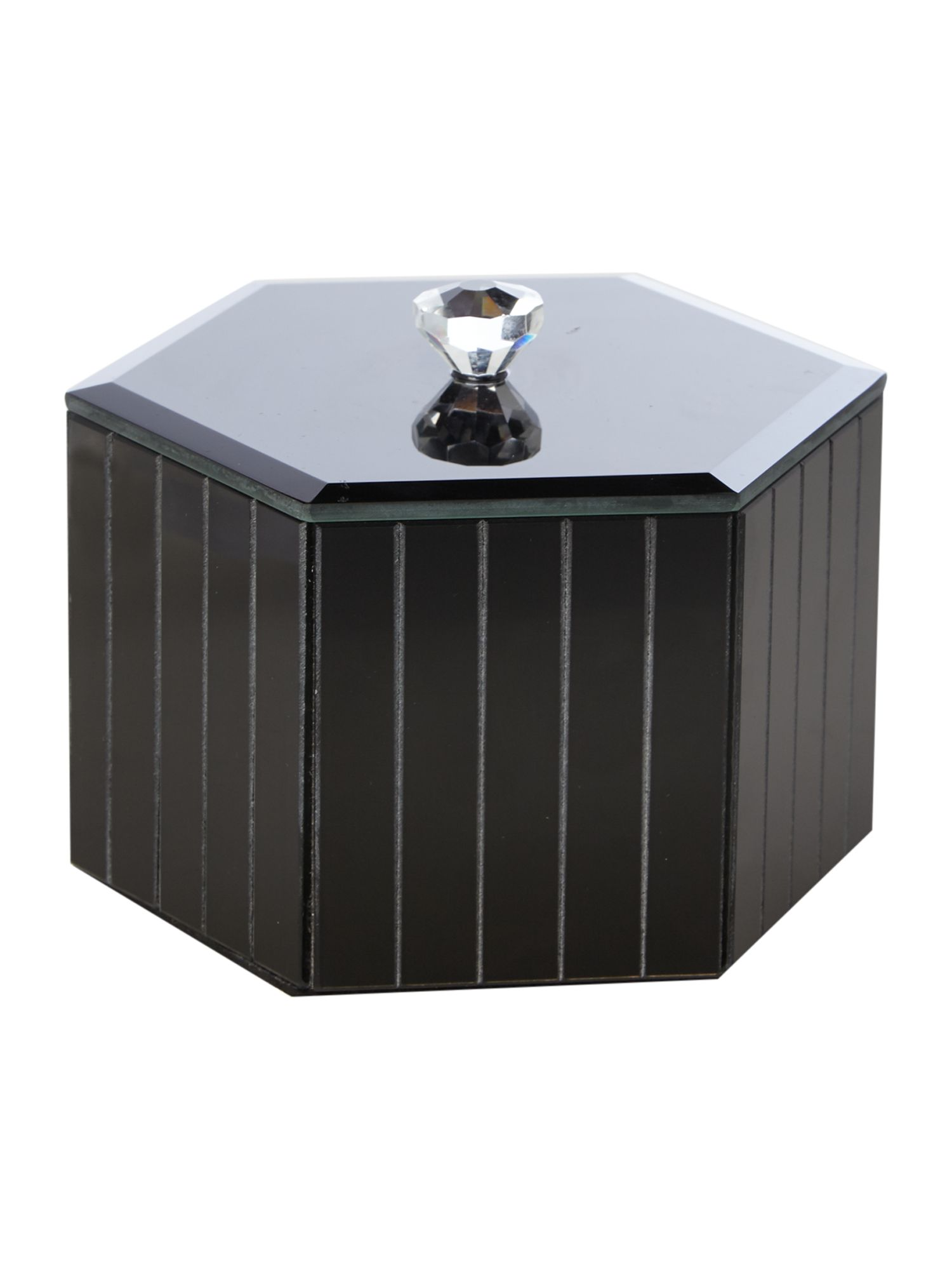 biba black glass trinket box