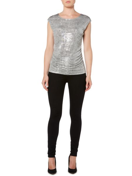 Episode Metallic top with button shoulders