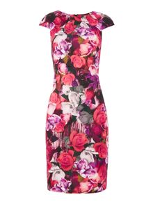 Jessica Wright Cap Sleeve Round Neck Floral Bodycon Dress