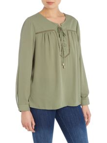 Vince Camuto Lace up Embellished Blouse