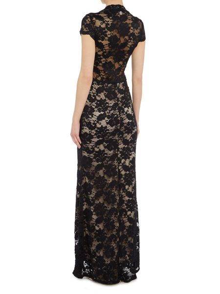 Jessica Wright Cap Sleeve Lace Overlay Maxi Dress