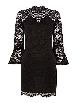 Bell Sleeve Lace Overlay Bodycon Dress