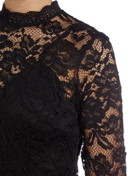 Jessica Wright Bell Sleeve Lace Overlay Bodycon Dress