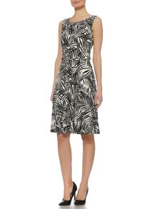 Linea Leaf printed full skirted dress