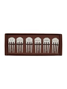 Linea Set of 6 metal fork cheese markers