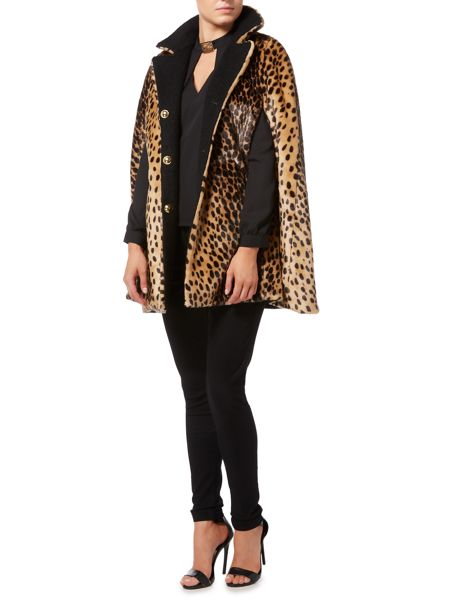 Biba Reversible leopard and wool mix cape