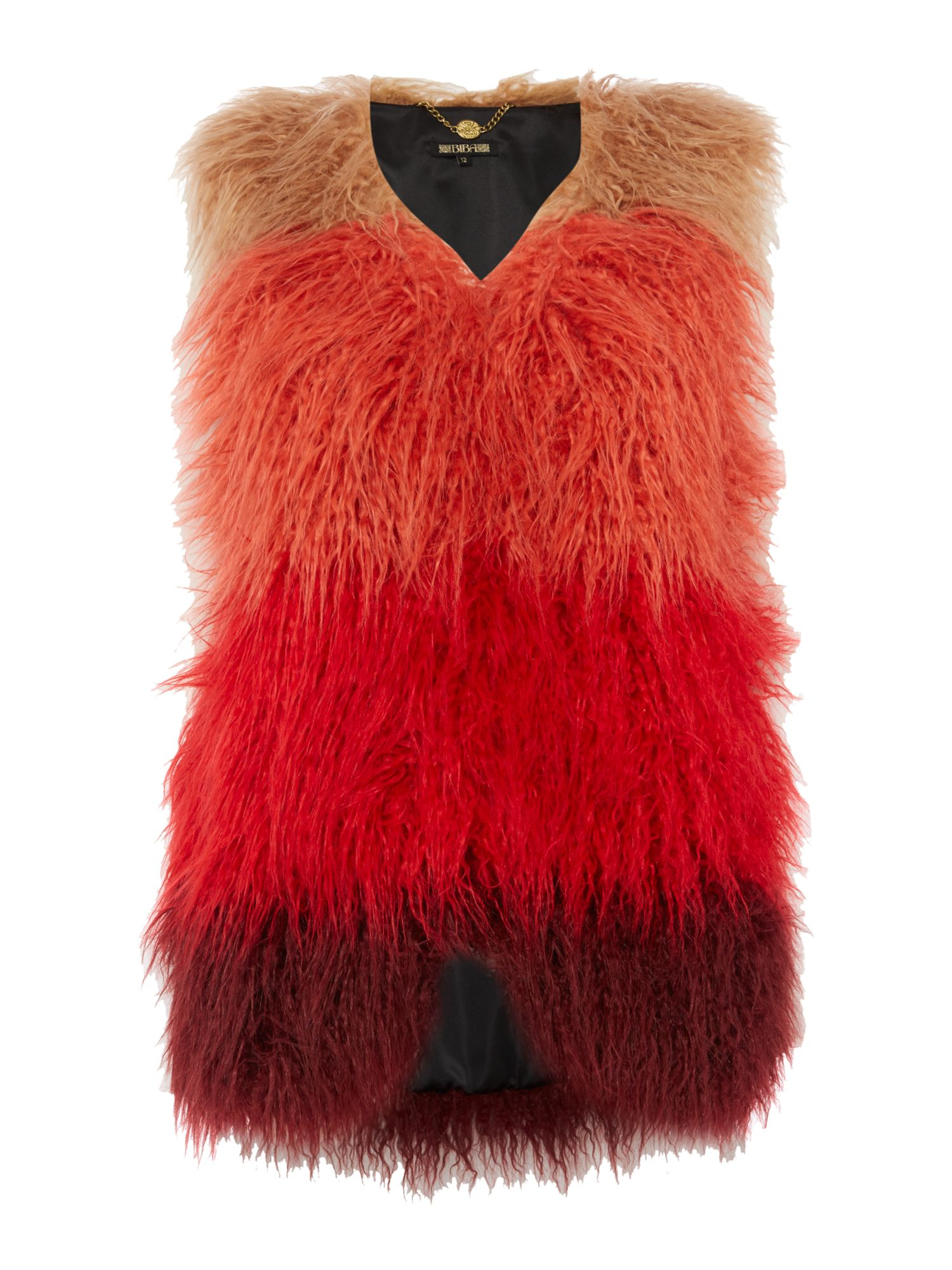 Biba Faux fur mongolian longline gilet, Multi-Coloured