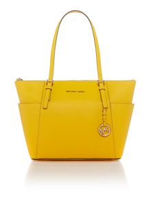 Michael Kors Jetset Item yellow zip top tote bag