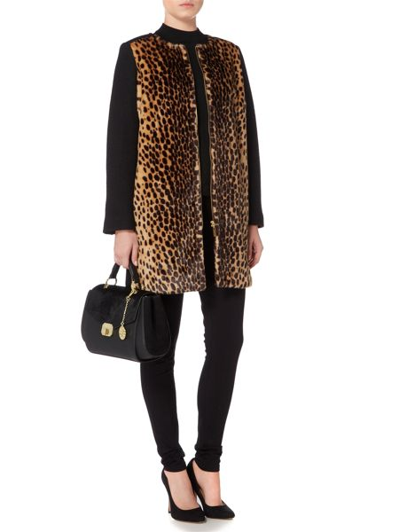 Biba Leopard and wool mix zip detail coat