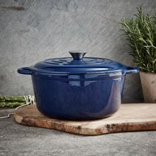 Linea Midnight blue cast iron casserole 25.5cm