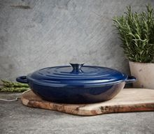 Linea Midnight blue cast iron low casserole 31cm