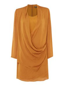 Biba Jacquard texture drape wrap dress
