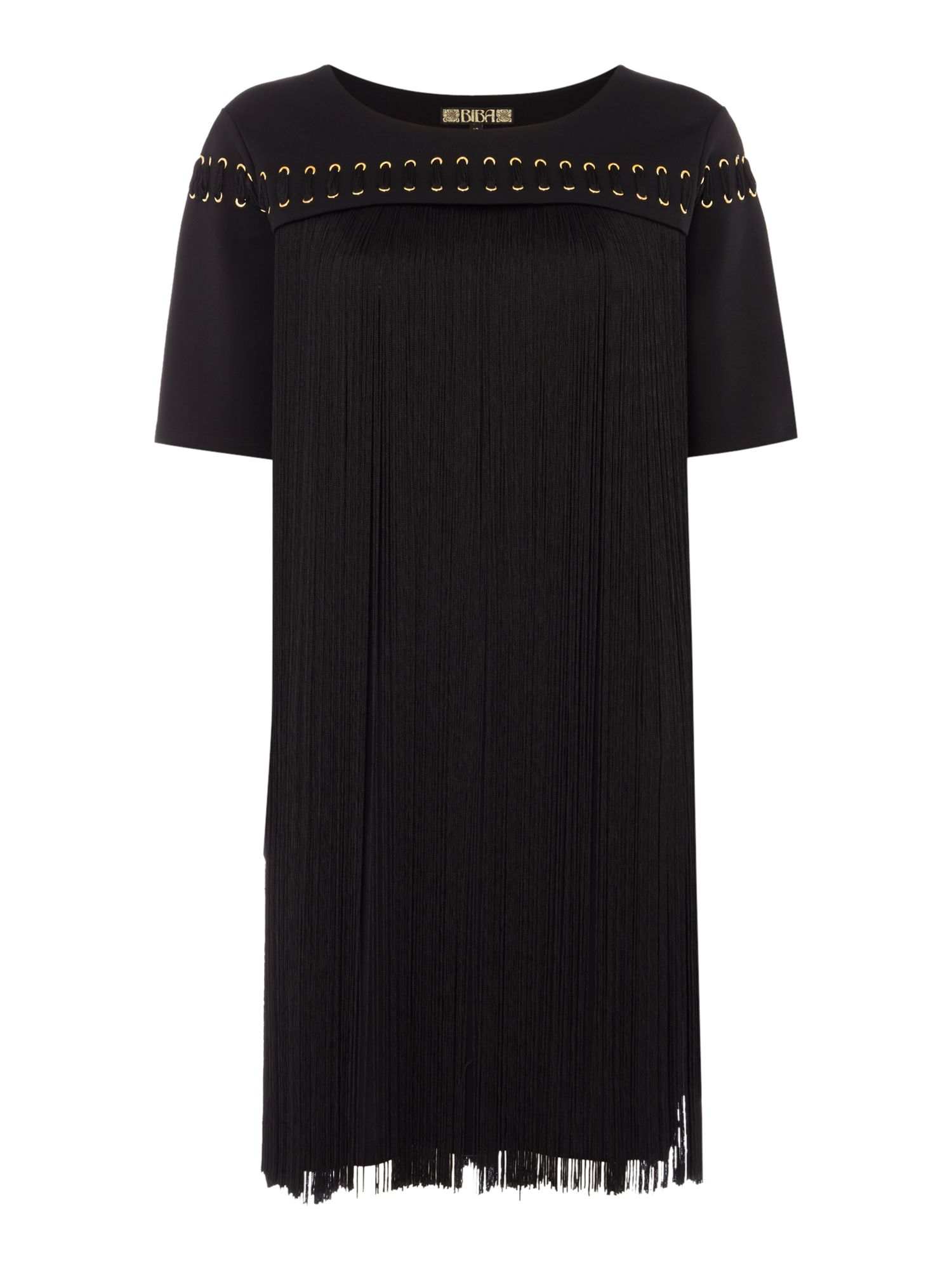 Biba Fringe tassel eyelet dress, Black