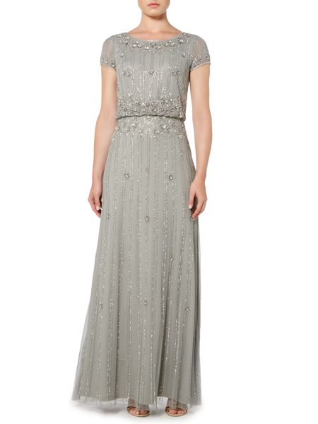 Adrianna Papell Short sleeve blouson gown with beading