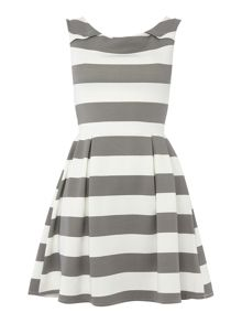 Wal-G Cap Sleeve Wide Stripe Fit & Flare Dress