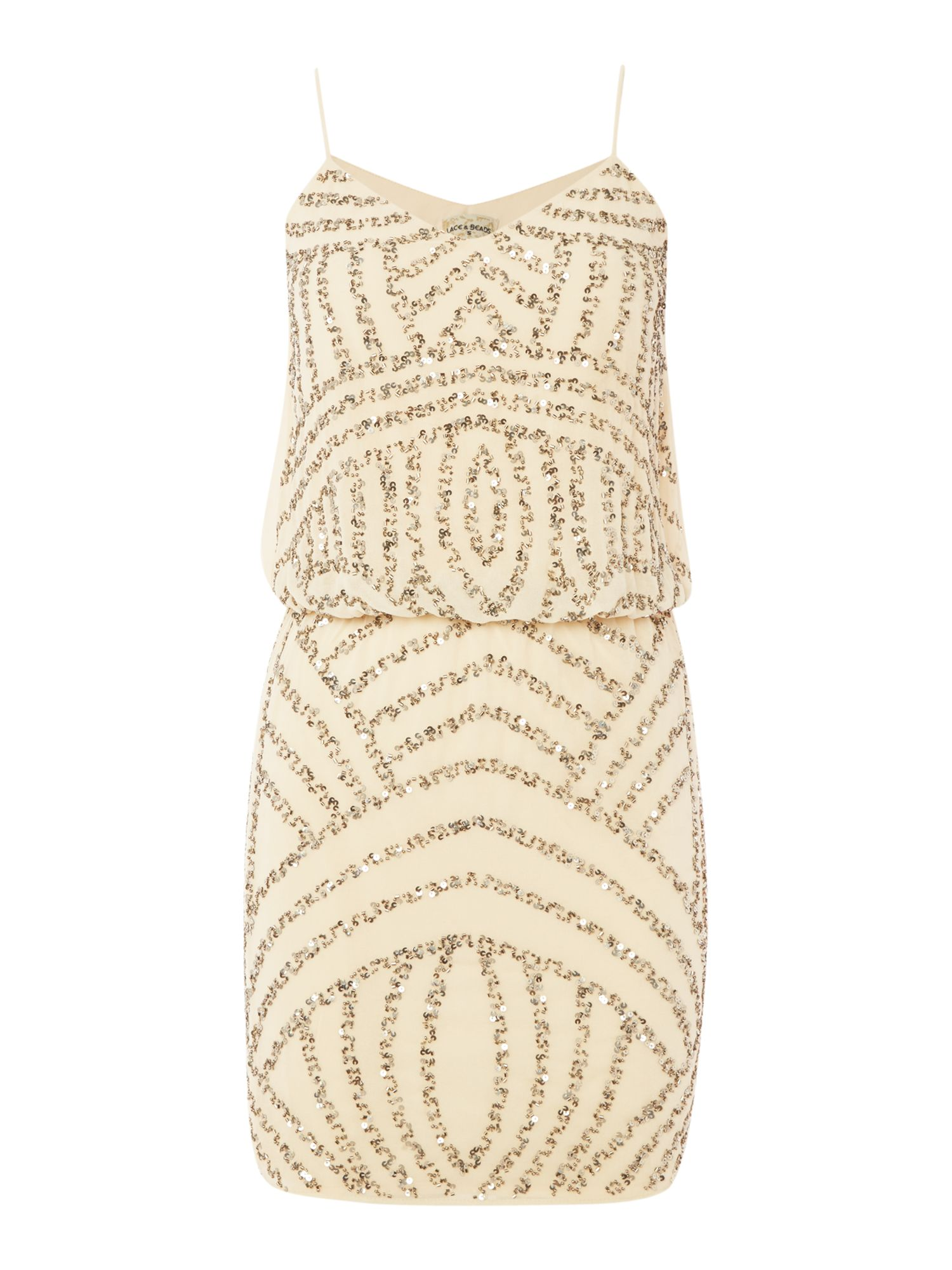 Lace and Beads Lace and Beads Sleeveless Blouson Top Dress, Cream