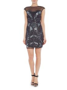Lace and Beads Cap Sleeve Silver Full Front Beaded Bodycon Dress