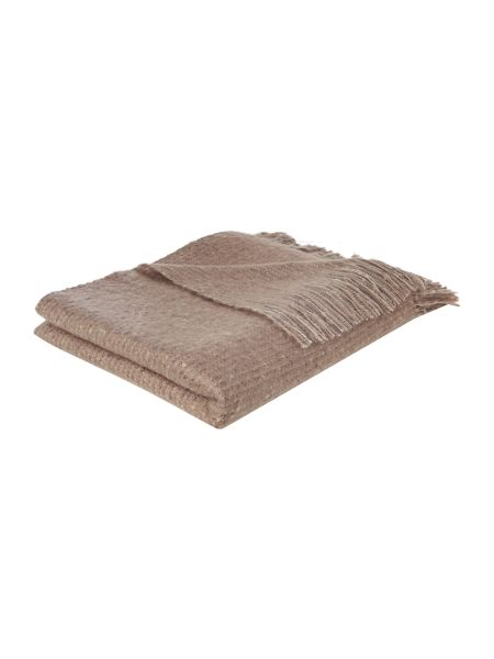 Linea Faux mohair stripe throw, stone