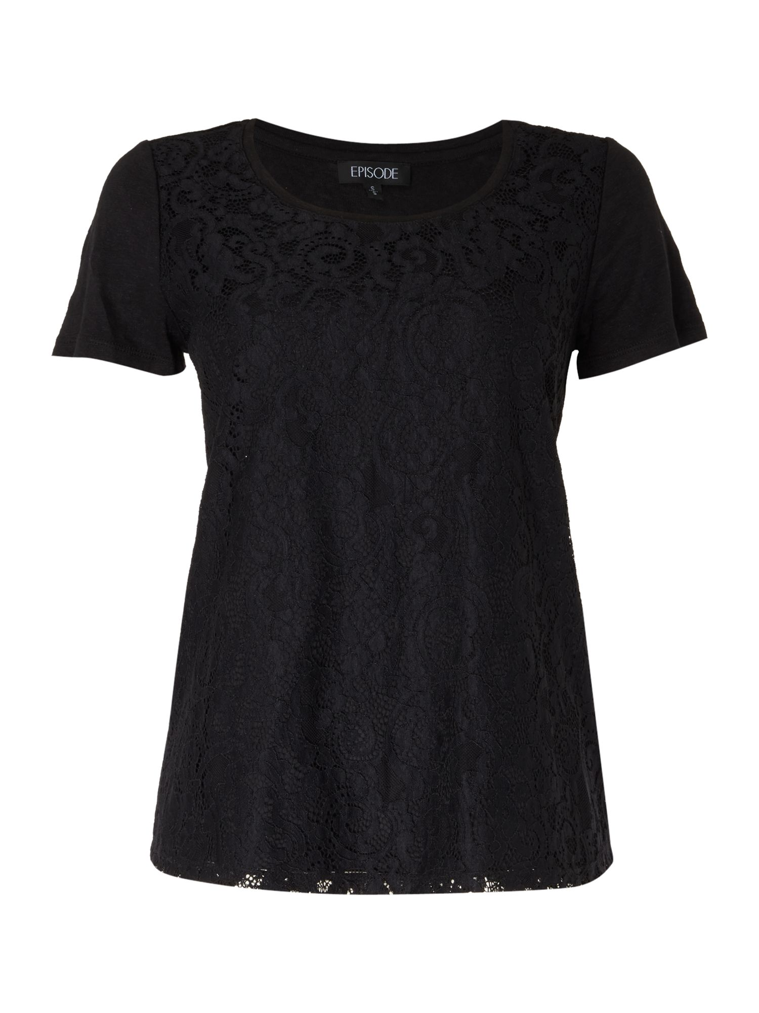Episode Episode Lace front tee, Black