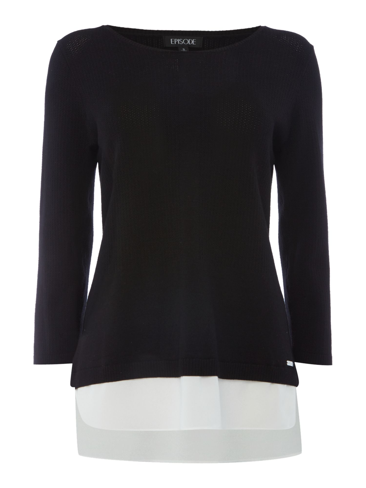 Episode Episode Lightweight knit jumper with layering, Black